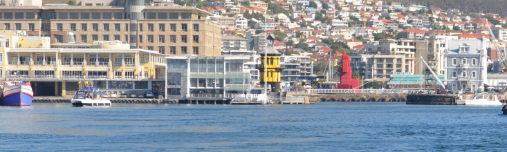 View of V&A Waterfront in Cape Town South Africa from the water
